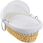 more details on Clair de Lune Waffle Natural Wicker Moses Basket - White.
