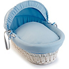 more details on Clair de Lune Waffle White Wicker Moses Basket - Blue.