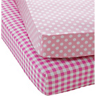 more details on Chad Valley Polka/Gingham Twin Pack Fitted Sheet - Single.