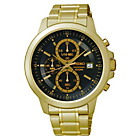 more details on Seiko Mens Gold Plated Black Dial Chrono Bracelet Watch.