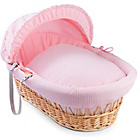 more details on Clair de Lune Waffle Natural Wicker Moses Basket - Pink.