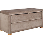 more details on Fabric 2 Drawer Ottoman - Mink.