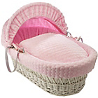 more details on Clair de Lune Marshmallow White Wicker Moses Basket - Pink.