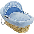 more details on Clair de Lune Honeycomb Natural Wicker Moses Basket - Blue.
