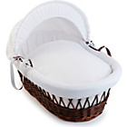 more details on Clair de Lune Waffle Dark Wicker Moses Basket - White.