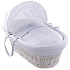 more details on Clair de Lune Stardust White Wicker Moses Basket - Blue.