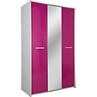 more details on HOME New Sywell 3 Door Mirrored Wardrobe - Pink and White.