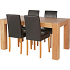 more details on Indiana Oak Dining Table and 4 Chocolate Midback Chairs.