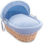 more details on Clair de Lune Waffle Natural Wicker Moses Basket - Blue.