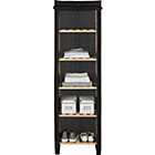more details on Polycotton and Wood Tall 5 Narrow Shelf Storage Unit - Black