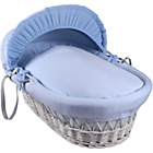 more details on Clair de Lune Cotton Candy White Wicker Moses Basket - Blue.