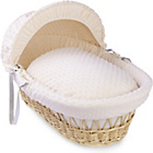 more details on Clair de Lune Dimple Natural Wicker Moses Basket - Cream.
