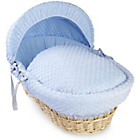 more details on Clair de Lune Dimple Natural Wicker Moses Basket - Blue.