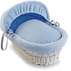 more details on Clair de Lune Honeycomb White Wicker Moses Basket - Blue.