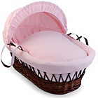 more details on Clair de Lune Waffle Dark Wicker Moses Basket - Pink.