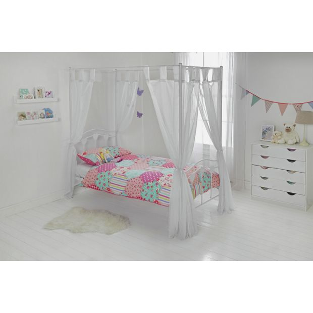 buy home hearts single four poster bed frame white at. Black Bedroom Furniture Sets. Home Design Ideas