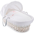 more details on Clair de Lune Stardust White Wicker Moses Basket - Pink.