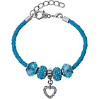 more details on Made Up Blue Leather Crystal Bead Bracelet.