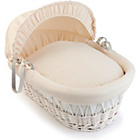 more details on Clair de Lune Waffle White Wicker Moses Basket - Cream.