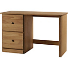 more details on Preston 2 Drawer Solid Pine Office Desk - Dark.