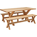 more details on Hudson Solid Wood Dining Table and 2 Pine Benches.