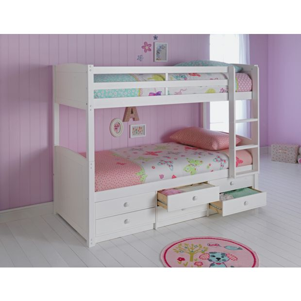 Buy home leigh detachable single bunk bed frame white at for Bunk bed frame with mattress