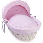 more details on Clair de Lune Dimple White Wicker Moses Basket - Pink.