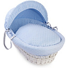 more details on Clair de Lune Dimple White Wicker Moses Basket - Blue.