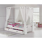 more details on Mia White Single 4 Poster Bed Frame with Ashley Mattress.