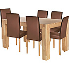 more details on Indiana Oak Dining Table and 6 Chocolate Midback Chairs.