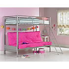 more details on Metal Fuchsia Futon Bunk Bed with Ashley Mattress.