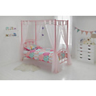 more details on Hearts Single Four Poster Bed Frame - Pink.