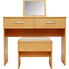 more details on New Hallingford Dressing Table, Stool and Mirror - Beech.