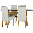 more details on Hartley Glass Dining Table and 4 Cream Chairs.