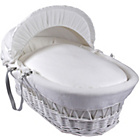 more details on Clair de Lune Cotton Candy Wicker Moses Basket - White.