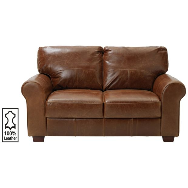 Buy heart of house salisbury 2 seater leather sofa tan for Leather sofa 7 seater