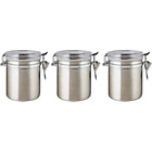 more details on Clip 3 Pack Glass Lid Storage Jars - Stainless Steel.