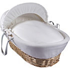 more details on Clair de Lune Cotton Candy Nat Wicker Moses Basket - White.