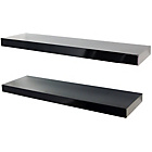 more details on Pair of 70cm Floating Shelves - Black Gloss.