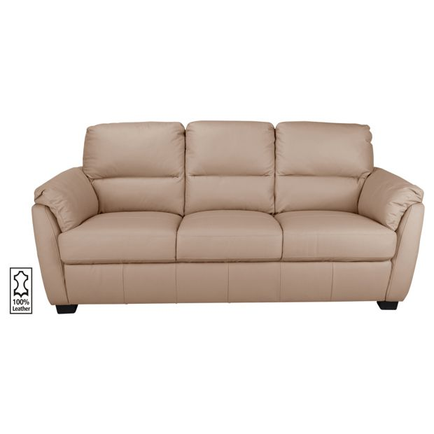 Buy Collection Trieste 3 Seater Leather Sofa Taupe At