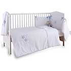 more details on Clair de Lune Stardust 3 Piece Cot/Cot Bed Set - Blue Trim.
