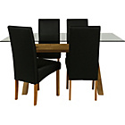 more details on Hartley Glass Dining Table and 4 Black Chairs.
