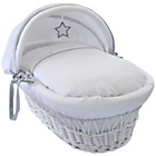 more details on Clair de Lune Silver Lining Wicker Moses Basket - White.