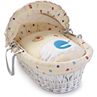 more details on Clair de Lune ABC White Wicker Moses Basket.