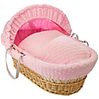 more details on Clair de Lune Marshmallow Dark Wicker Moses Basket - Pink.