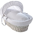 more details on Clair de Lune Marshmallow White Wicker Moses Basket - White.