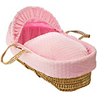 more details on Clair de Lune Marshmallow Palm Moses Basket - Pink.