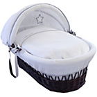 more details on Clair de Lune Silver Lining Wicker Moses Basket - Dark.