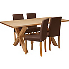 more details on Hudson Solid Wood Dining Table and 4 Chocolate Chairs.