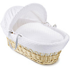 more details on Clair de Lune Dimple Natural Wicker Moses Basket - White.
